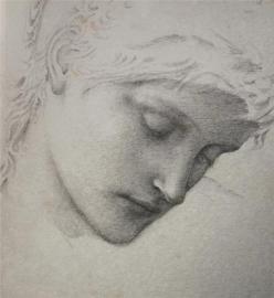 Edward Burne-Jones. Galvas zīmējums (apm.1870)