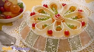 Cassata siciliana - sicīliešu biskvīta torte ar cukurotiem augļiem, mandeļu pastu, putotu saldo rikotu un vaniļas krēmu (via http://ricette.giallozafferano.it)