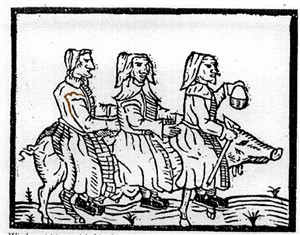 Northamptonshire Witches use a pig familiar as transport to visit a sick friend. (The Witches of Northamptonshire 1612)
