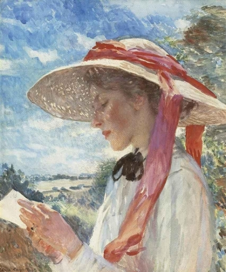 Laura Knight (1877-1970) A Girl Reading
