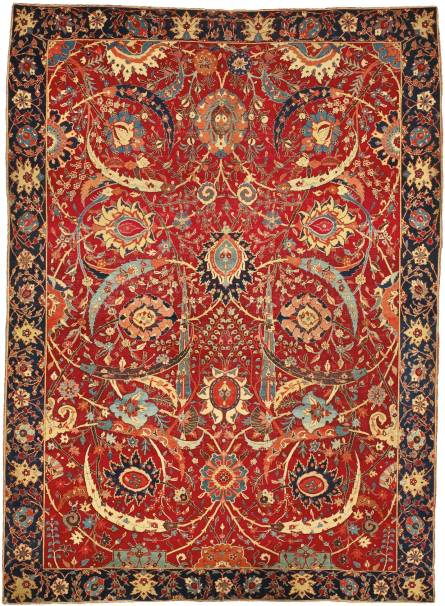 "A Sickle-Leaf Vine Scroll and palmette ""Vase"" Technique rug probably Kirman South East Persia $33,765,000 at Sotheby's NY (June, 2013)"