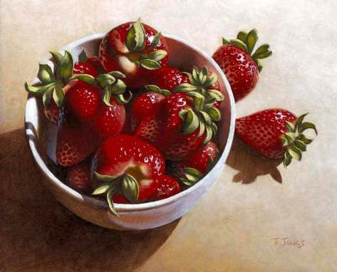 Timothy Jones. Strawberries in china dish.