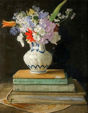 William Nicholson. Flowers with Books (1927)