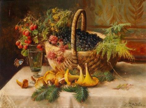 Hans Zatzka (Austrian, 1859-1945) «Autumnal Still Life with a Basket of Blackberries»