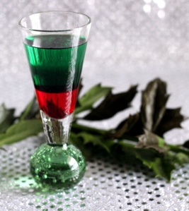 Santa shot: 1 part grenadine syrup, 1 part green creme de menthe, 1 part peppermint schnapps (via mixthatdrink.com)