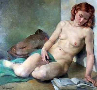 Philippe de Rougemont. Nude Woman Reading