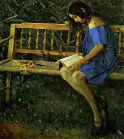 Mikhail Nesterov Nataša uz dārza soliņa (1914)
