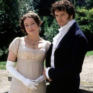 Colin Firth as Mr. Darcy and Jennifer Ehle as Elizabeth Bennet